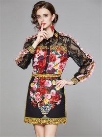 Retro Charming Lace Sleeve Flowers Two Pieces Dress