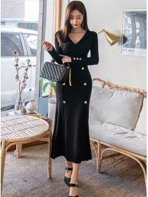 Wholesale Korea V-neck Double-breasted Slim Long Dress