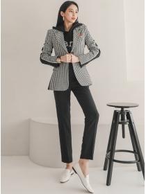 Quality Fashion Houndstooth Jackey with Slim Long Pants