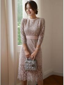 Grace Fashion Tie Bowknot Waist Lace Flowers Slim Dress
