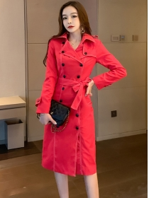 Modern Lady 2 Colors Double-breasted Slim Coat Dress
