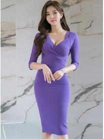 Wholesale OL Pleated V-neck High Waist Bodycon Dress