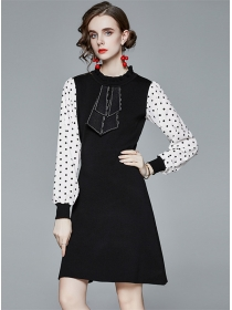 Autumn New Tie Round Neck Dots Sleeve Knitting Dress