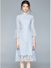 Elegant Lady 2 Colors Flare Sleeeve Lace A-line Dress