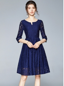 Europe Wholesale 2 Colors Mid-sleeve Lace A-line Dress