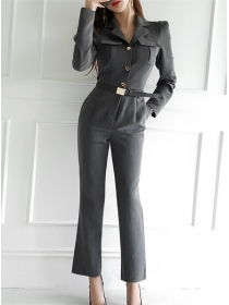 Brand 2 Colors Single-breasted V-neck Slim Long Jumpsuit