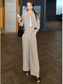 Quality New 2 Colors Short Coat with Wide-leg Long Pants
