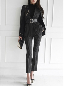 Modern Lady Stripes Wraps Coat with Slim Long Pants