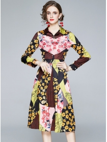 Autumn Fashion Color Block Flowers Shirt Dress