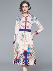 Charming Europe Shirt Collar Flowers Long Sleeve Dress