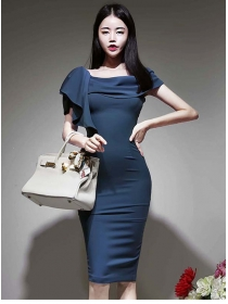 Modern Lady Flouncing Boat Neck Bodycon Dress