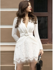 Charming OL Pleated V-neck Lace Fluffy Dress Set