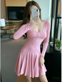 Charm Sexy 2 Colors Tie Backless Fishtail Cotton Dress