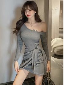 Wholesale 2 Colors Off Shoulder Tie Waist Cotton Dress