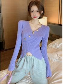 Wholesale 4 Colors Buttons V-neck Long Sleeve Knit T-shirt