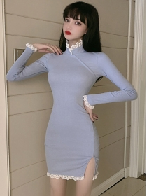 Fashion Lady 2 Colors Lace Stand Collar Skinny Dress