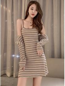 Wholesale 2 Colors Stripes Cotton Tops with Straps Dress