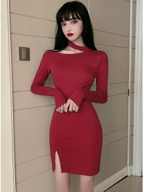 Wholesale Autumn 2 Colors Slim Long Sleeve Cotton Dress