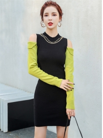 Modern Lady Color Block Off Shoulder Slim Knitting Dress