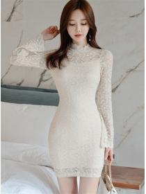 Grace OL Lace Flowers Flare Sleeve Bodycon Dress