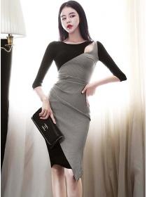 Retro Korea Color Block Houndstooth Skinny Dress