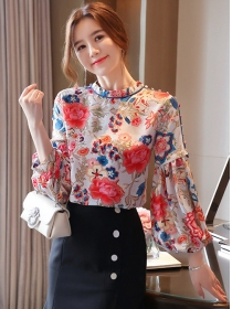 Charming Lady Flowers Puff Sleeve Loosen Blouse
