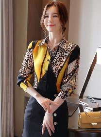 Retro Fashion Color Block Leopard Long Sleeve Blouse