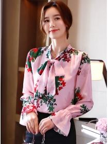 Charming Wholesale Tie Collar Flowers Flare Sleeve Blouse