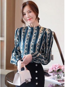 Fashion Wholesale Stand Collar Puff Sleeve Blouse