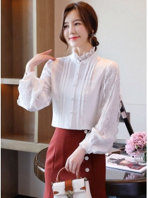 Pretty Lady Stand Collar Lace Puff Sleeve Blouse