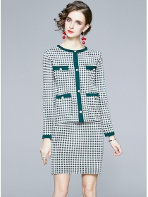 Europe Autumn Plaids Slim Knitting Two Pieces Dress