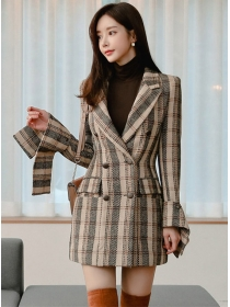 Retro Fashion Double-breasted Plaids Woolen Coat