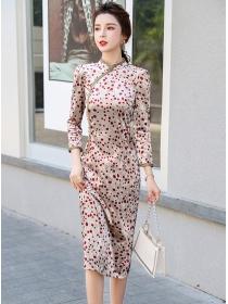 Grace OL Flowers Bodycon Velvet Cheongsam Dress