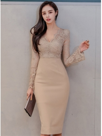 Retro Korea Lace V-neck Flare Sleeve High Waist Dress
