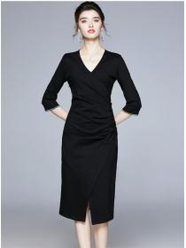 Quality Fashion V-neck Pleated Split Bodycon Dress