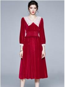 Grace Europe Elastic Waist Doll Collar Velvet Long Dress