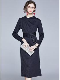 Europe Stylish Belt Waist Bodycon Knitting Dress