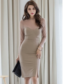 Modern Lady Stand Collar Gauze Sleeve Bodycon Dress