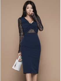 Sexy Wholesale Twisted V-neck Lace Splicing Slim Dress