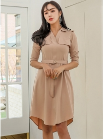 Modern Lady V-neck Belt Waist A-line Dress
