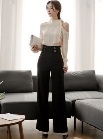 Elegant Lady Off Shoulder Blouse with High Waist Long Pants