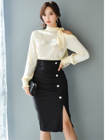 Grace Korea Tie Collar Blouse with Single-breasted Midi Skirt