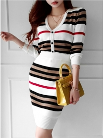 Wholesale Korea 2 Colors Buttons V-neck Stripes Knit Dress Set