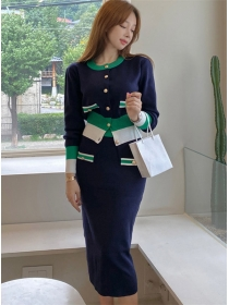 Stylish Korea Buttons Color Block Slim Knitting Dress Set