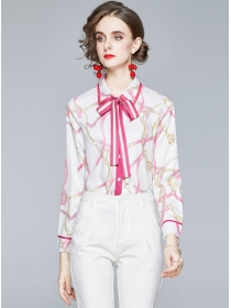Charming Lady Tie Collar Flowers Loosen Blouse