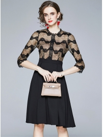 Wholesale Fashion Round Neck Lace Splicing A-line Dress