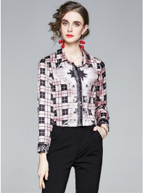 Wholesale Europe Plaids Flowers Long Sleeve Blouse