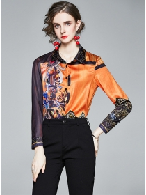 Europe Retro Color Block Flowers Long Sleeve Blouse