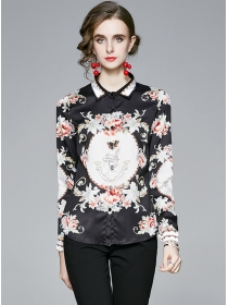 Fashion Autumn Shirt Collar Flowers Blouse
