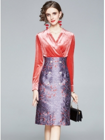 Elegant Lady Velvet V-neck Splicing Jacquard Flowers Dress